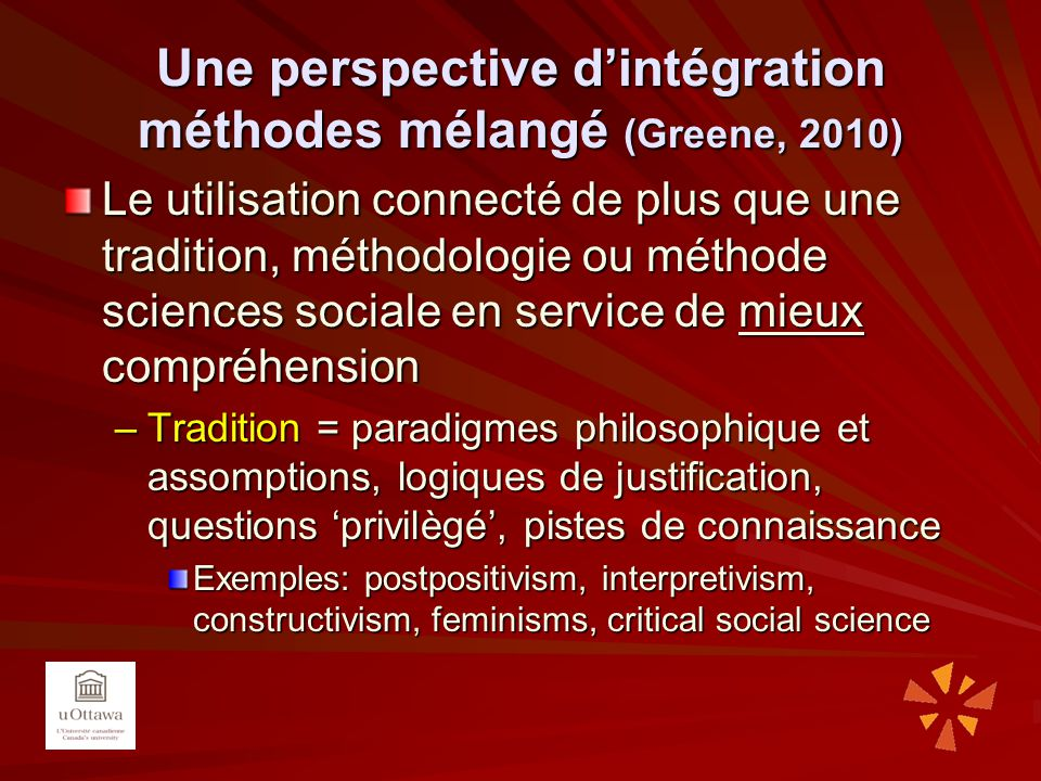 Une perspective d'intégration méthodes mélangé (Greene, 2010)