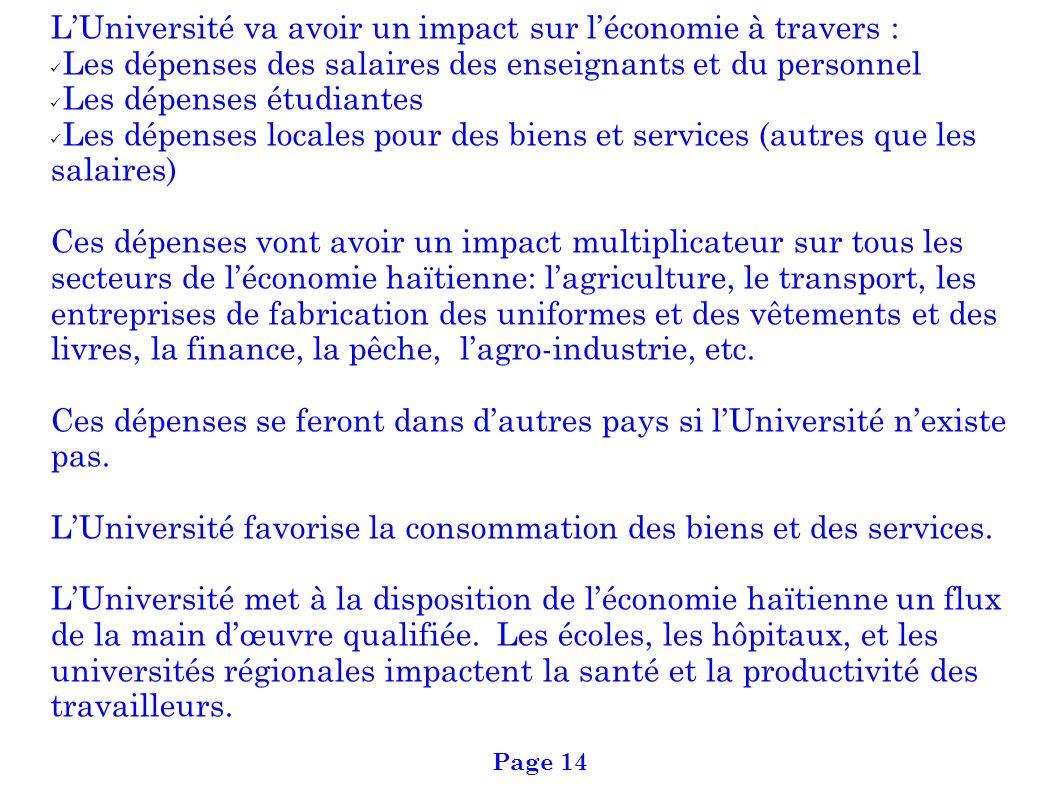 L'Université va avoir un impact sur l'économie à travers :