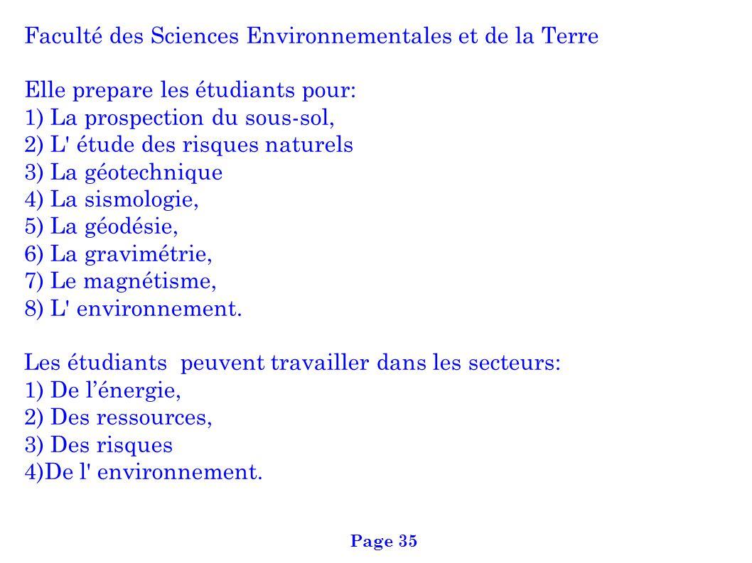 Faculté des Sciences Environnementales et de la Terre