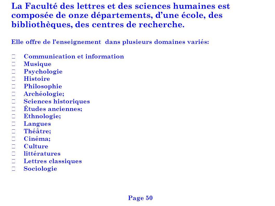La Faculté des lettres et des sciences humaines est composée de onze départements, d'une école, des bibliothèques, des centres de recherche.