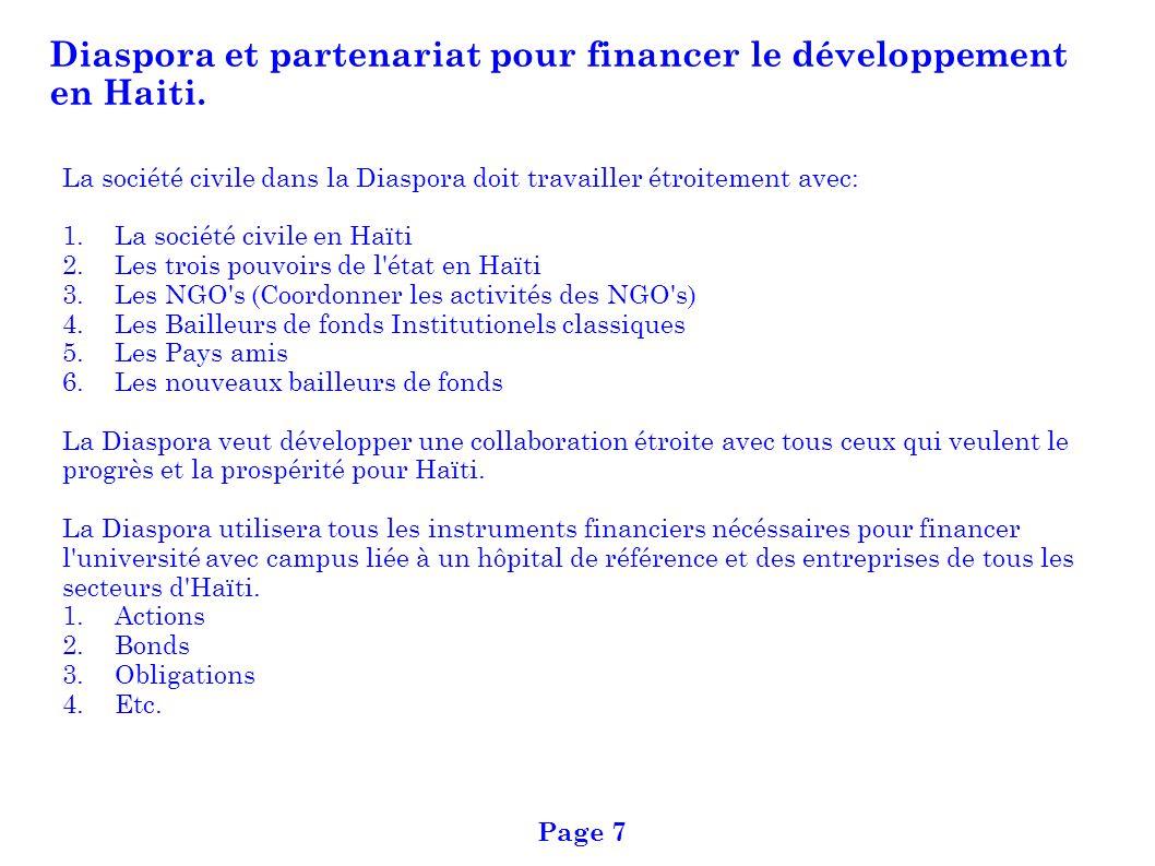 Diaspora et partenariat pour financer le développement en Haiti.