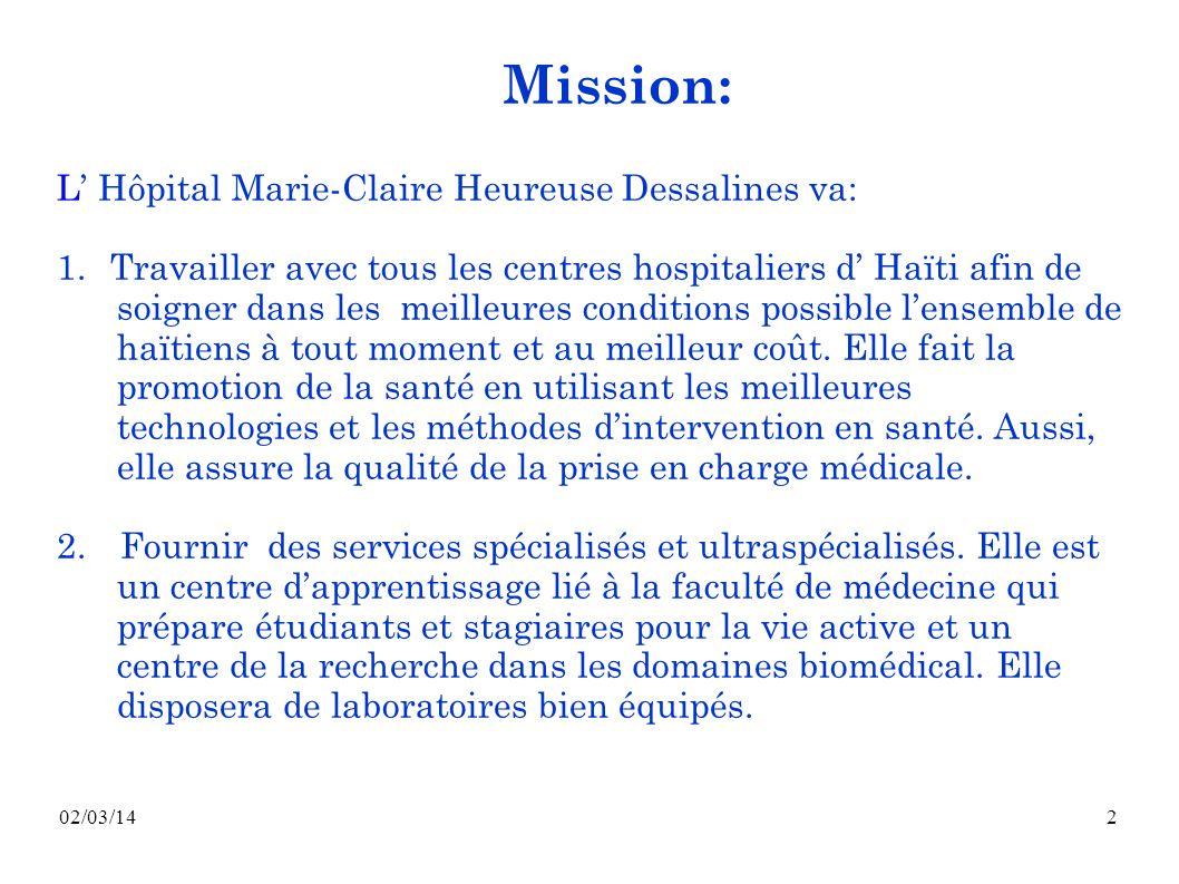 Mission: L' Hôpital Marie-Claire Heureuse Dessalines va: