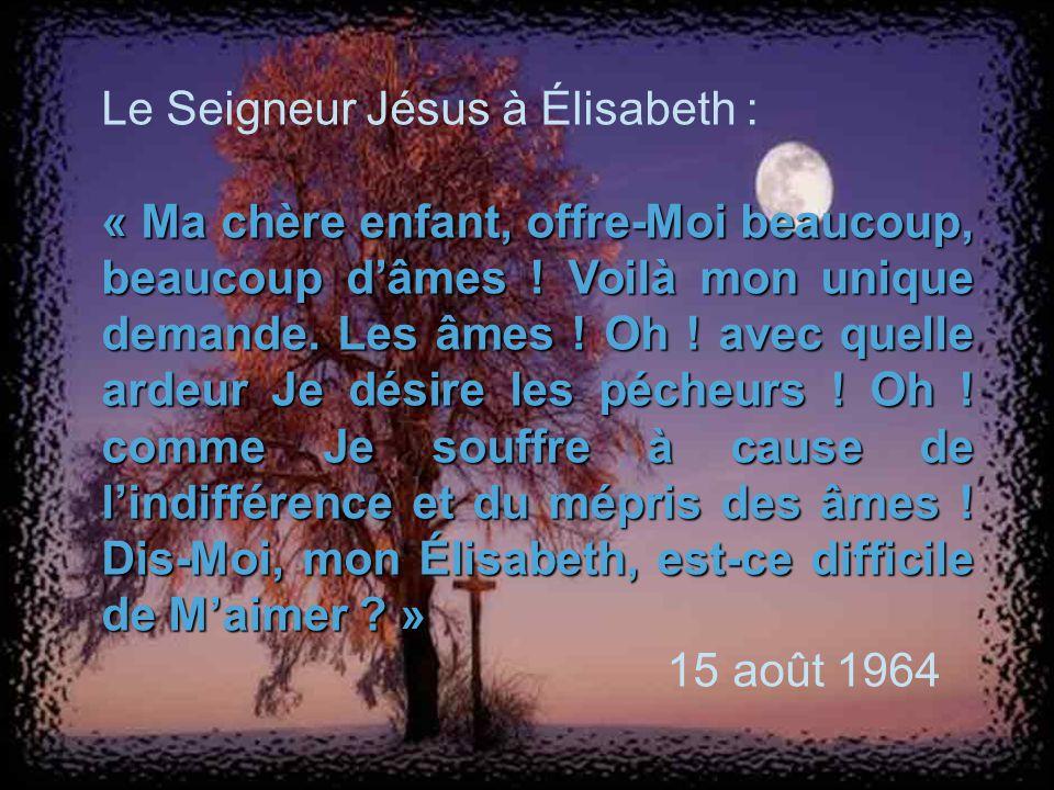 Le Seigneur Jésus à Élisabeth :