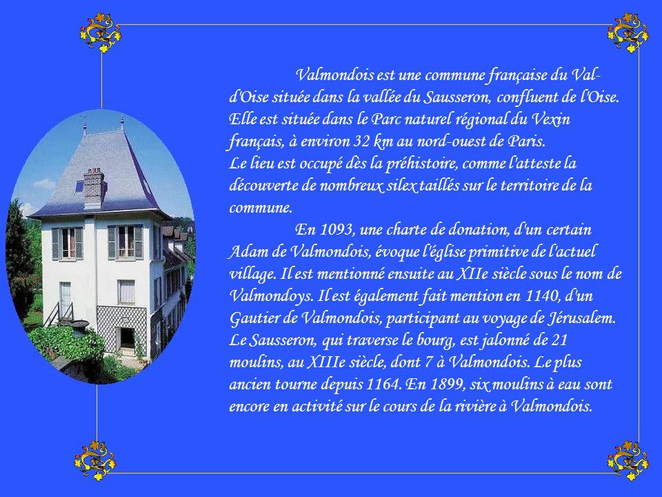 Valmondois est une commune française du Val-d Oise située dans la vallée du Sausseron, confluent de l Oise. Elle est située dans le Parc naturel régional du Vexin français, à environ 32 km au nord-ouest de Paris.