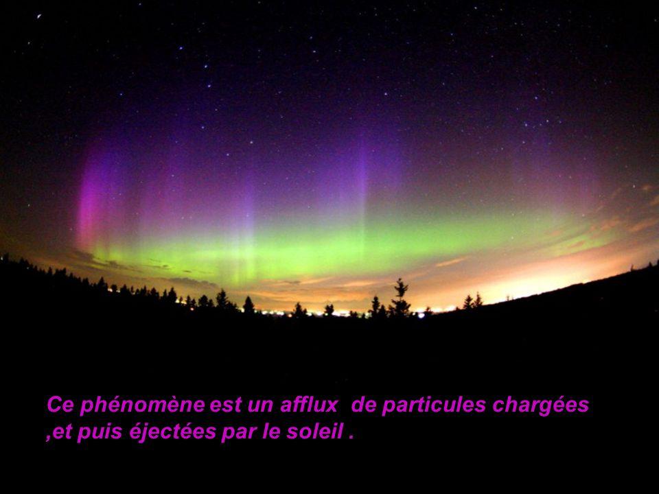Ce phénomène est un afflux de particules chargées ,et puis éjectées par le soleil .