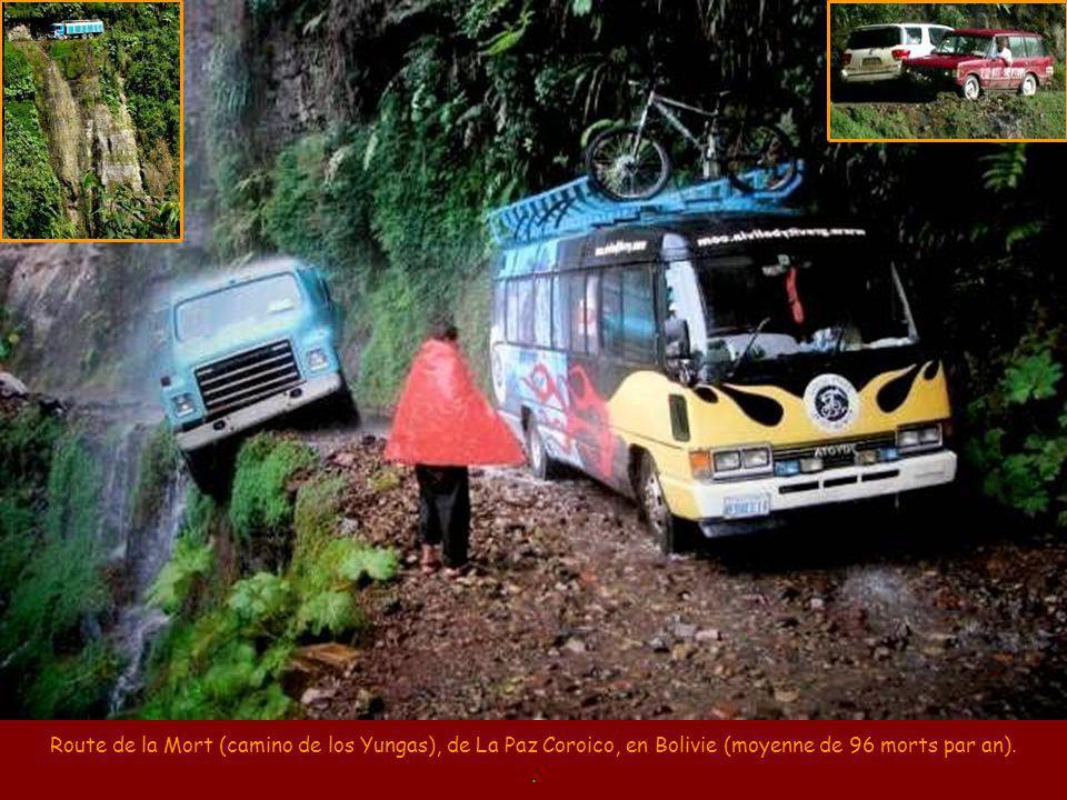 Route de la Mort (camino de los Yungas), de La Paz Coroico, en Bolivie (moyenne de 96 morts par an).