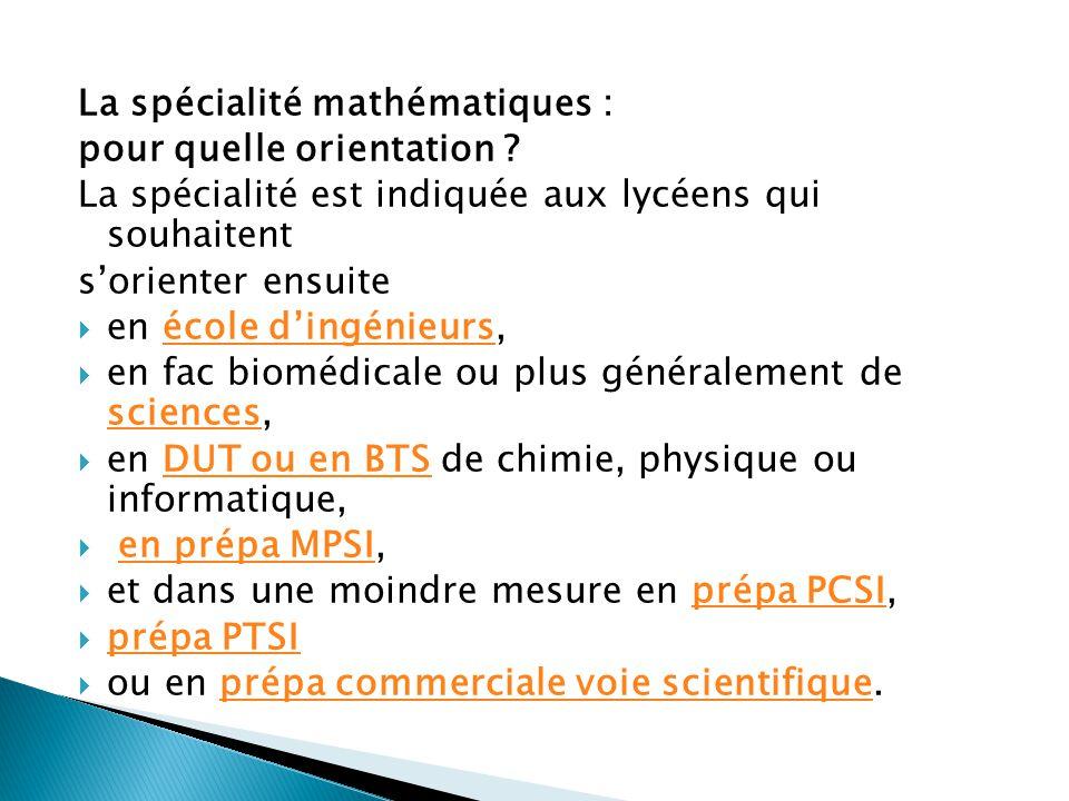 La spécialité mathématiques :