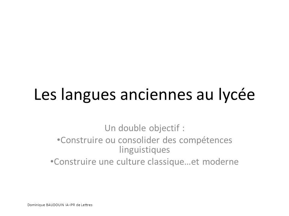 Les langues anciennes au lycée