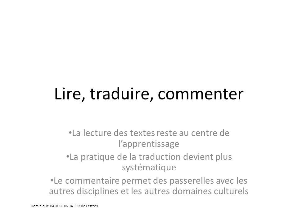 Lire, traduire, commenter
