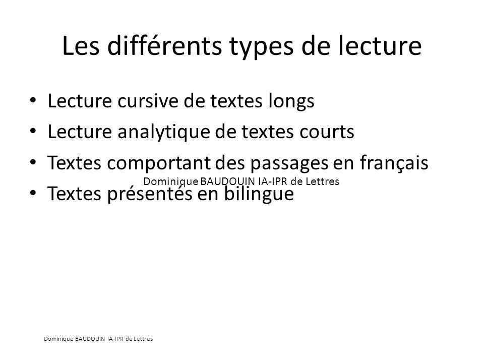 Les différents types de lecture