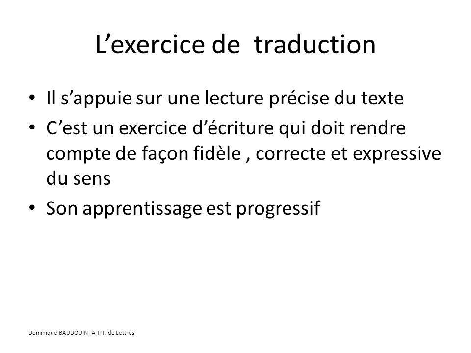 L'exercice de traduction
