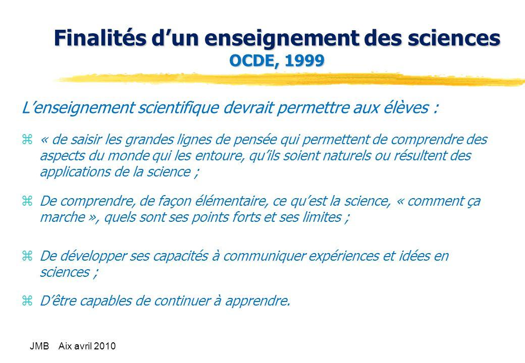 Finalités d'un enseignement des sciences OCDE, 1999