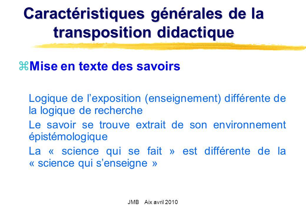 Caractéristiques générales de la transposition didactique