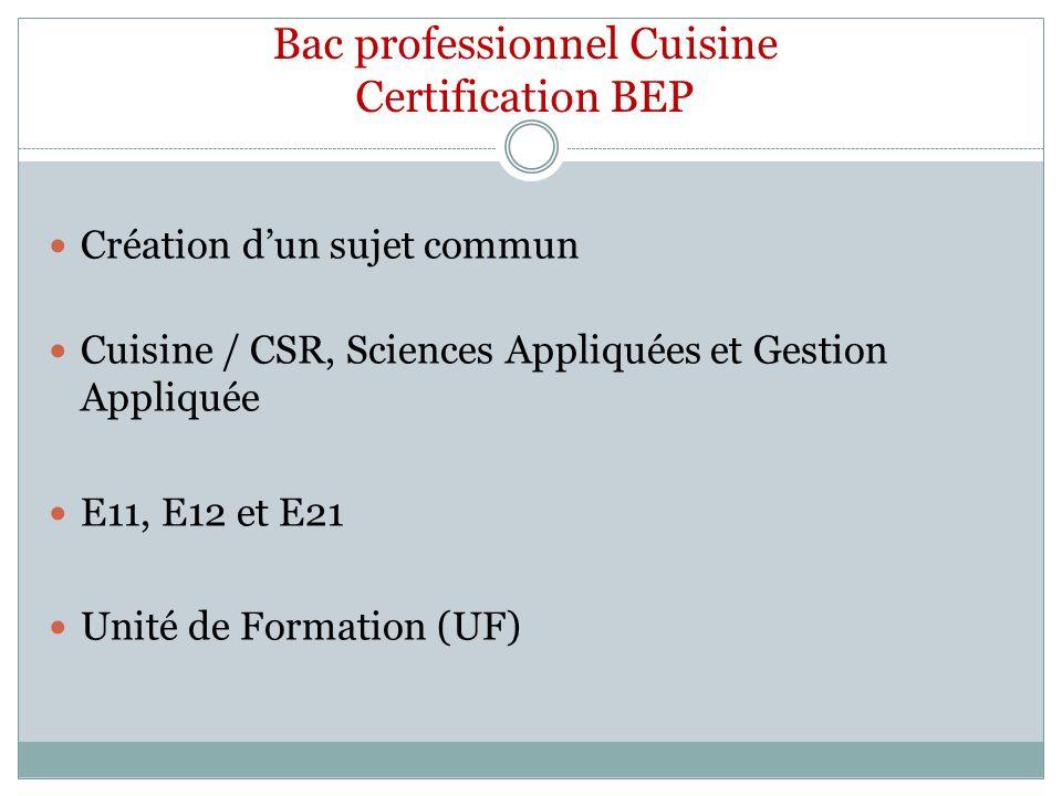 Bac professionnel Cuisine Certification BEP