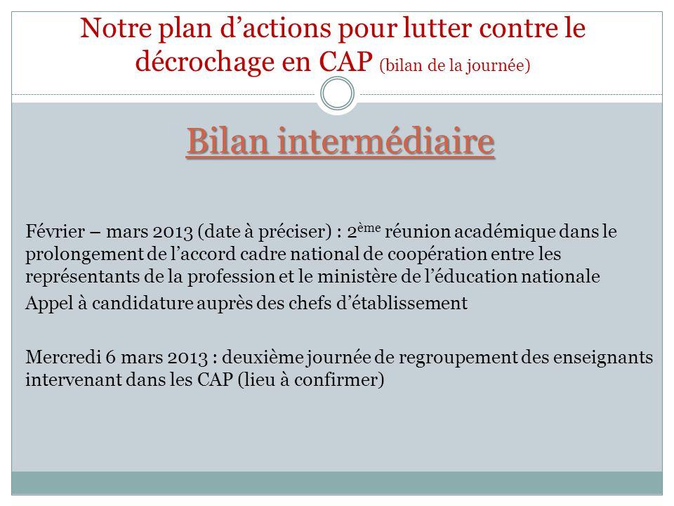 Notre plan d'actions pour lutter contre le décrochage en CAP (bilan de la journée)