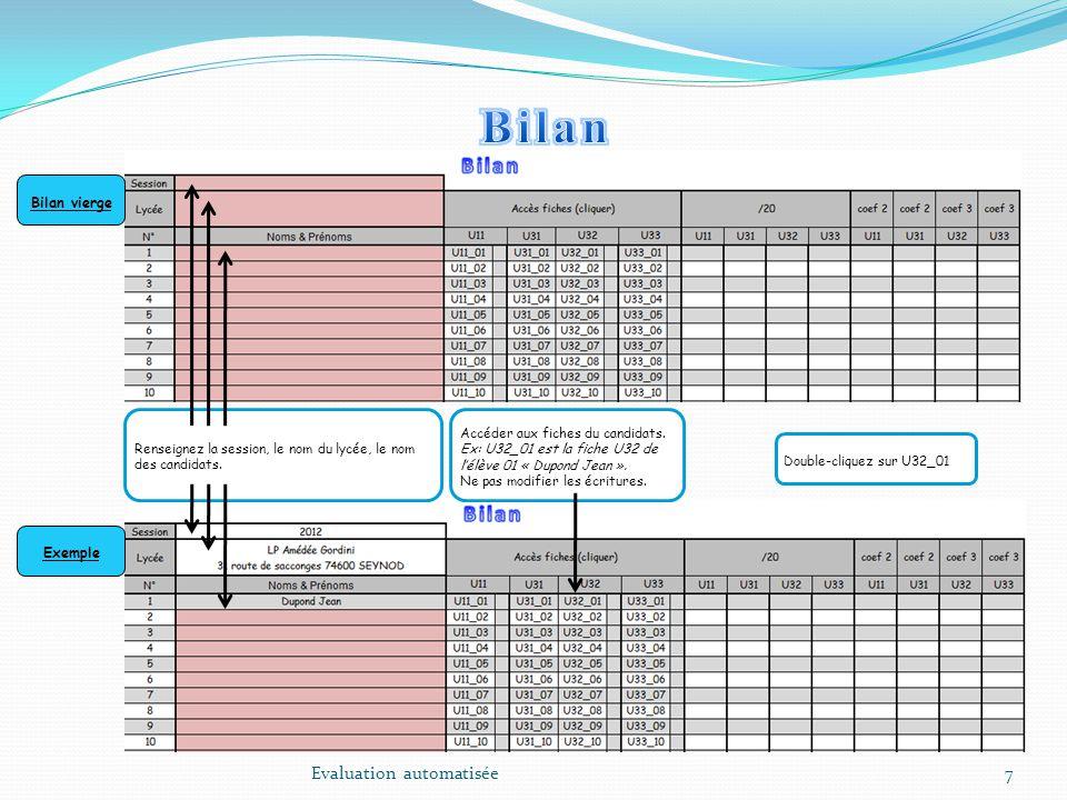 Bilan Evaluation automatisée Bilan vierge Exemple