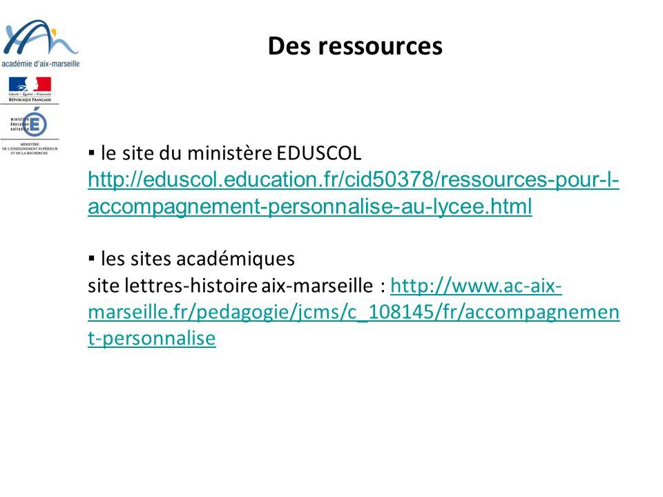 Des ressources ▪ le site du ministère EDUSCOL