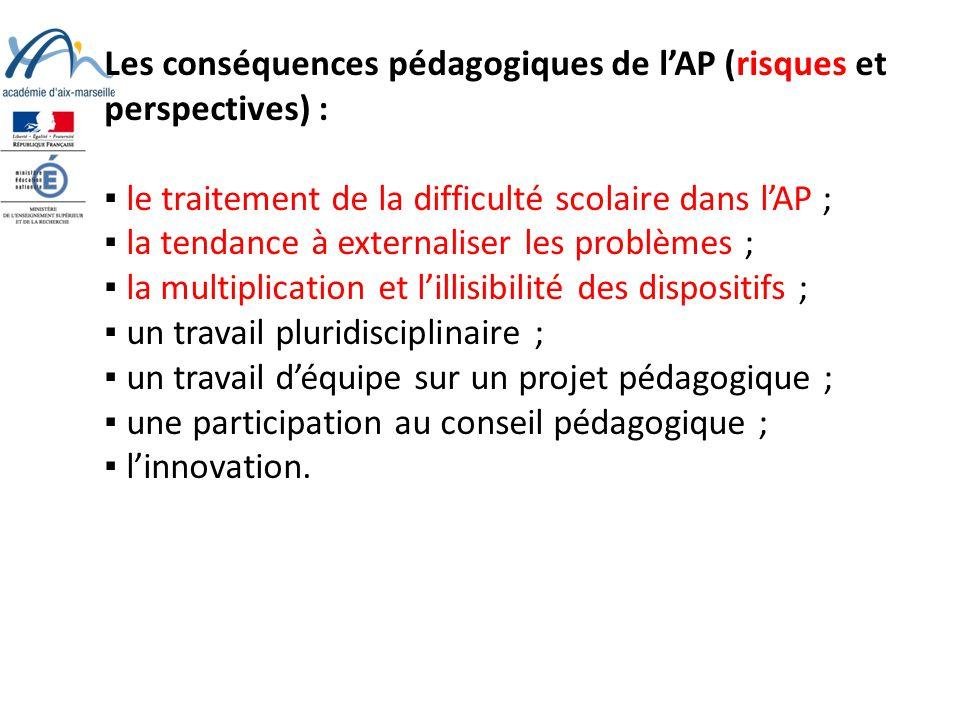 Les conséquences pédagogiques de l'AP (risques et perspectives) :