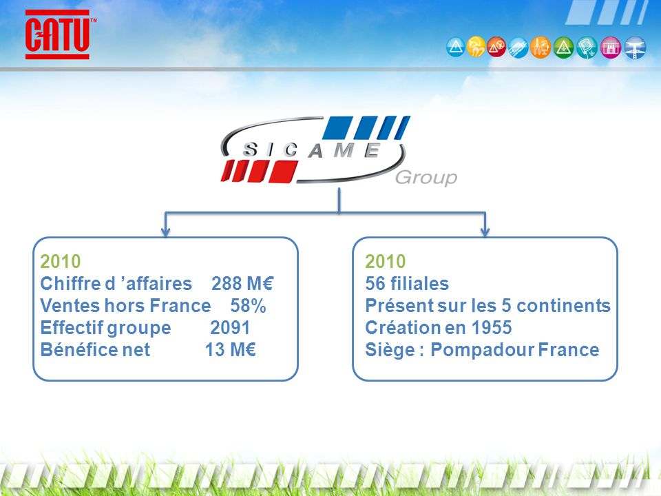 2010 Chiffre d 'affaires 288 M€ Ventes hors France 58% Effectif groupe 2091. Bénéfice net 13 M€