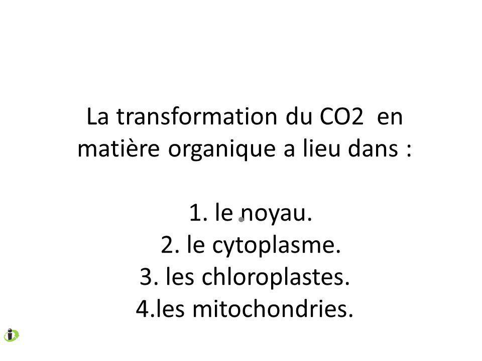 La transformation du CO2 en matière organique a lieu dans : 1.