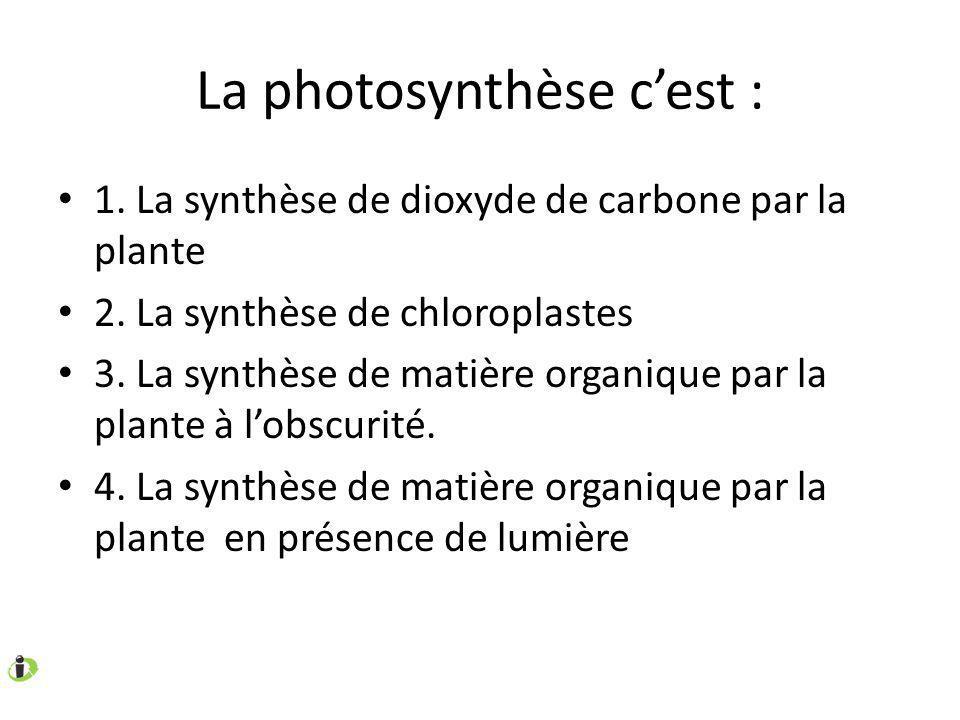 La photosynthèse c'est :