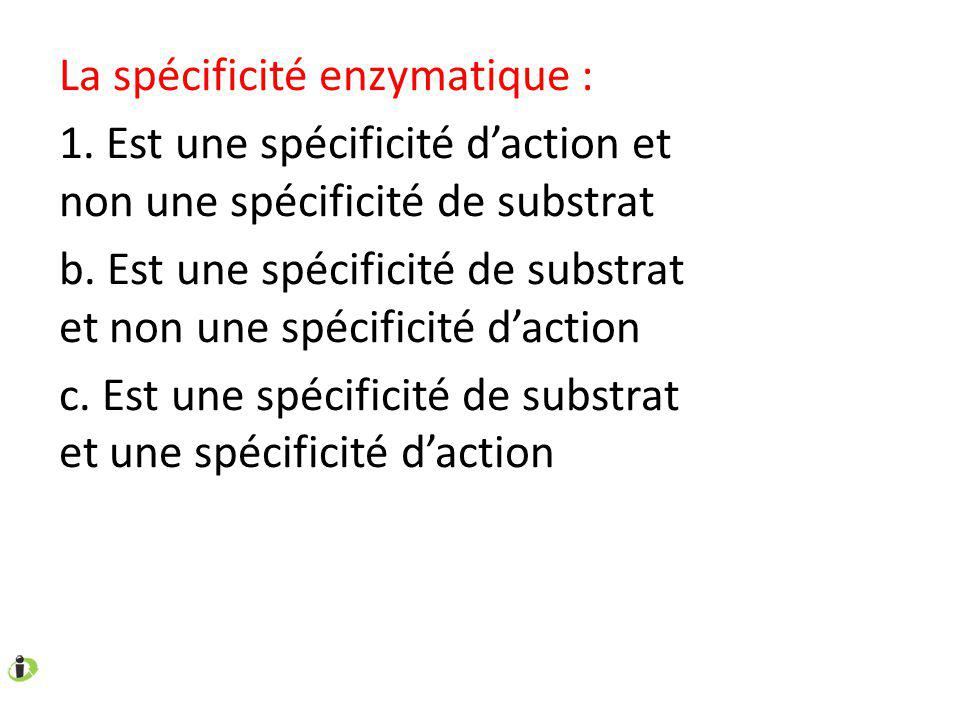 La spécificité enzymatique :