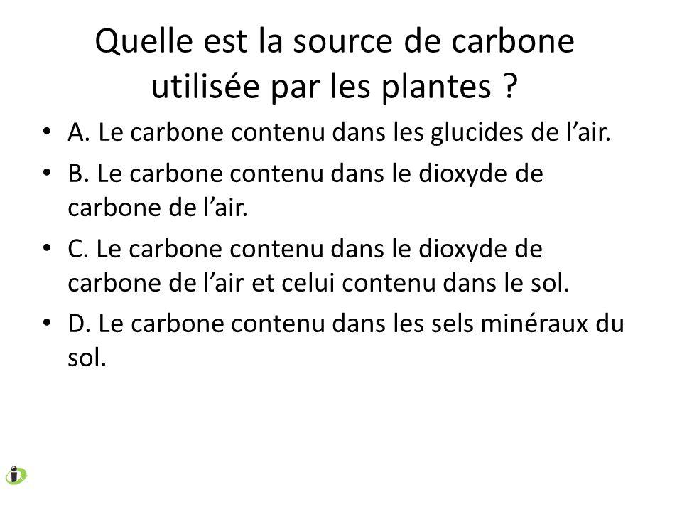 Quelle est la source de carbone utilisée par les plantes