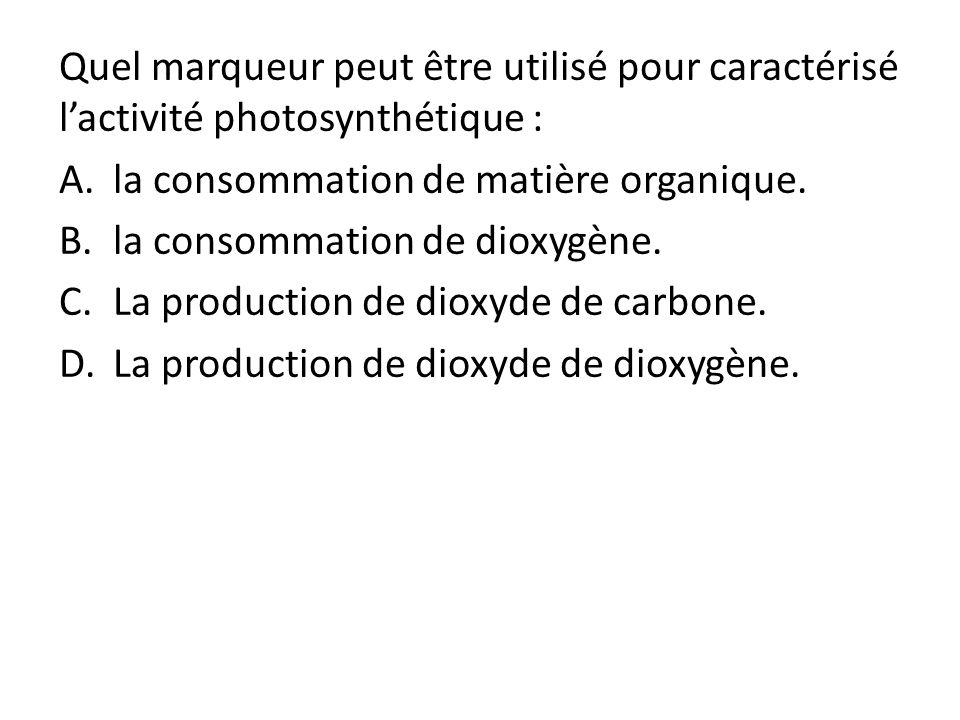 Quel marqueur peut être utilisé pour caractérisé l'activité photosynthétique :