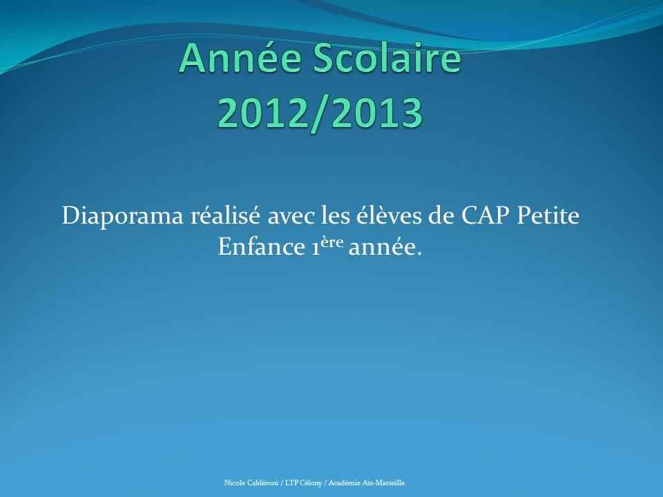 DIAPORAMA REALISE AVEC LES ELEVES DE CAP Petite Enfance 1ère année Année Scolaire 2012/2013