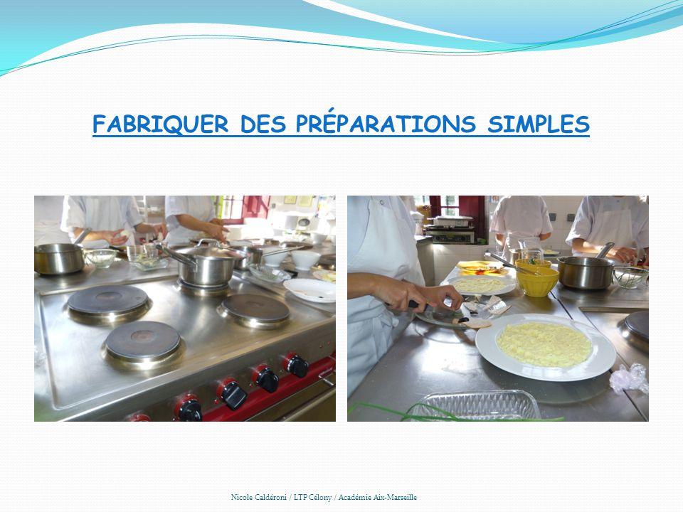 Fabriquer des préparations simples