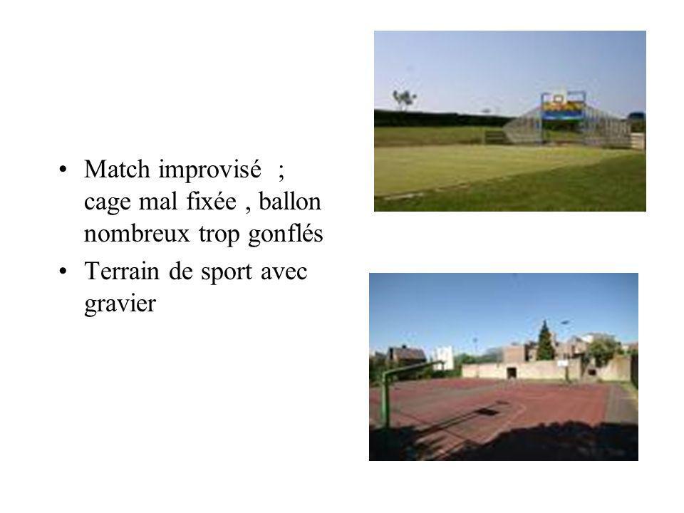 Match improvisé ; cage mal fixée , ballon nombreux trop gonflés
