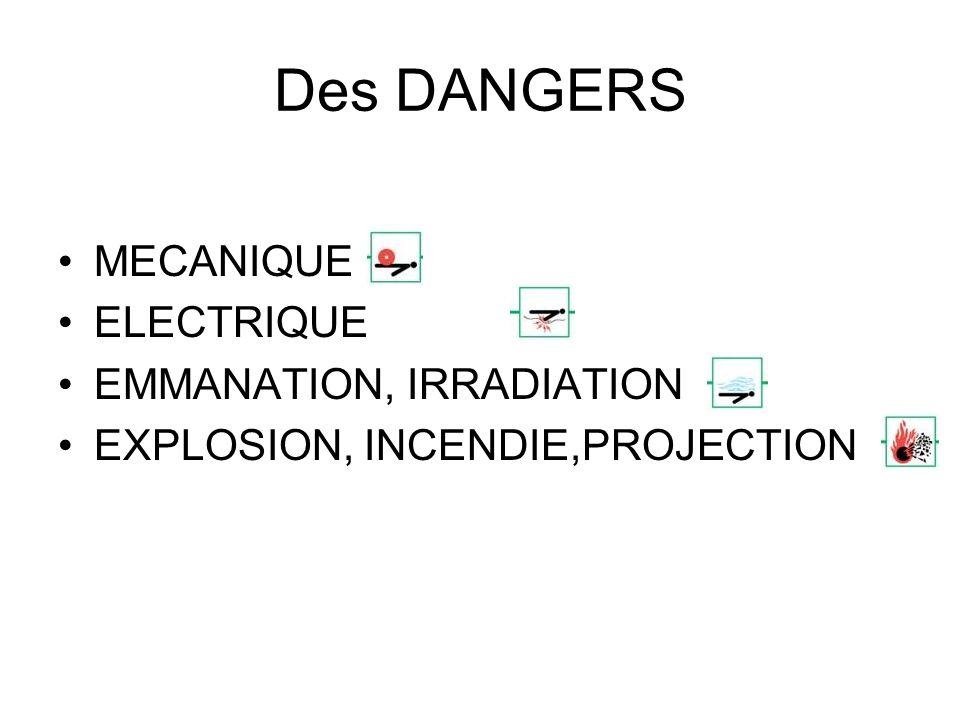 Des DANGERS MECANIQUE ELECTRIQUE EMMANATION, IRRADIATION