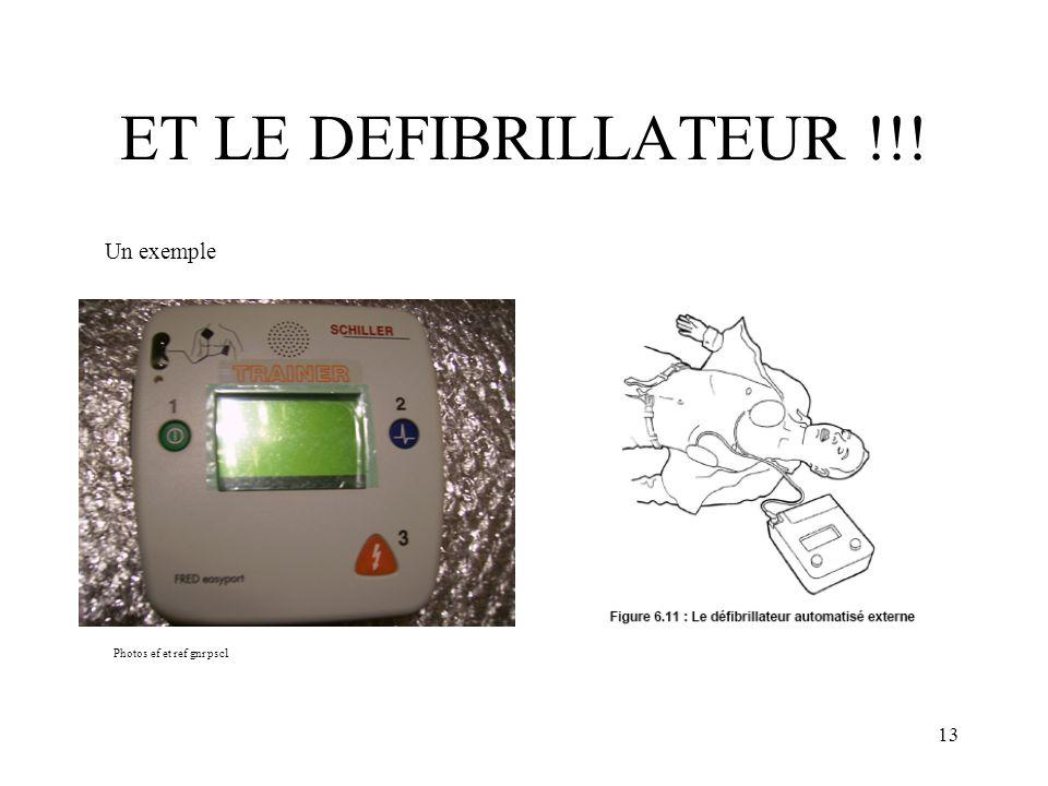 ET LE DEFIBRILLATEUR !!! Un exemple Photos ef et ref gnr psc1