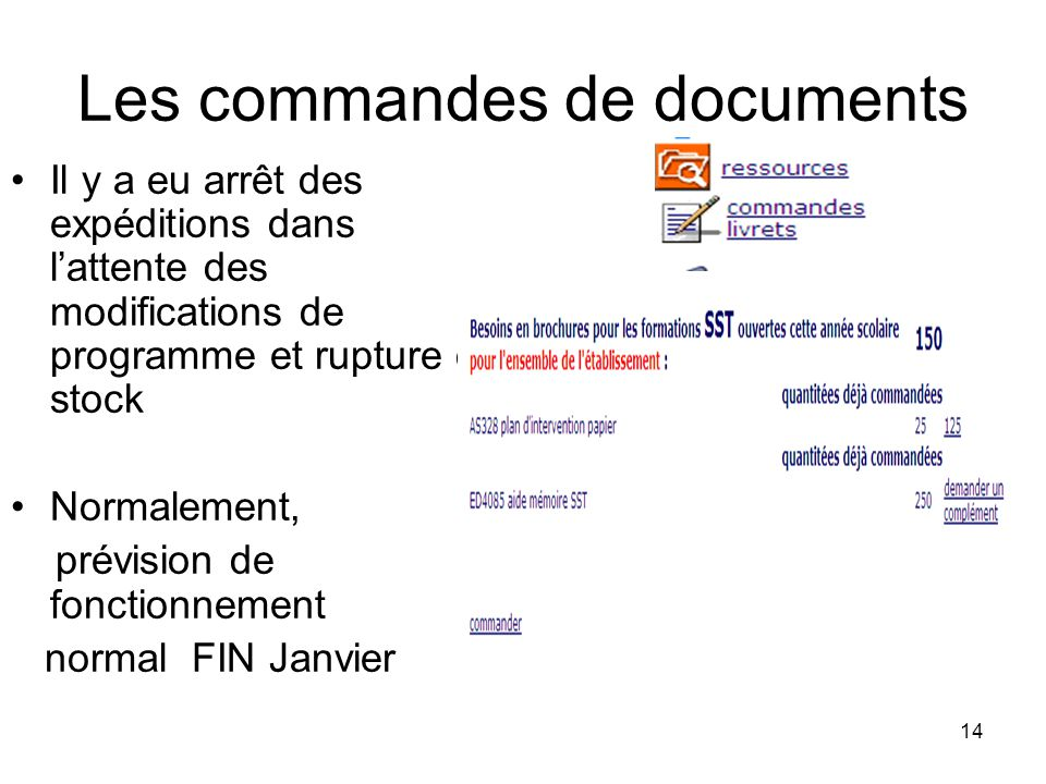 Les commandes de documents