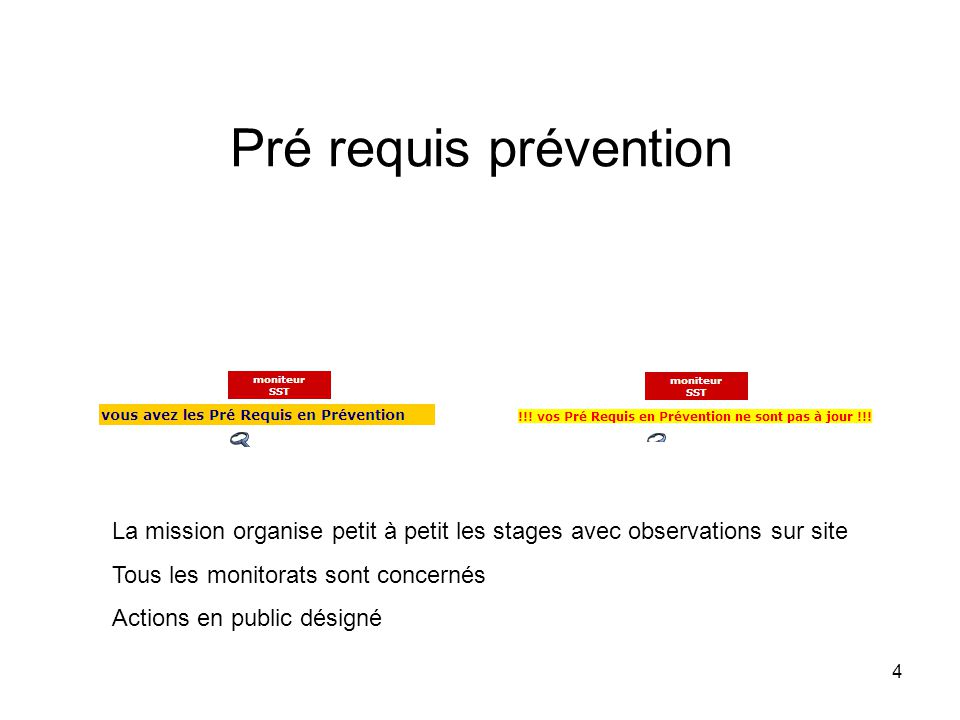 Pré requis prévention La mission organise petit à petit les stages avec observations sur site. Tous les monitorats sont concernés.