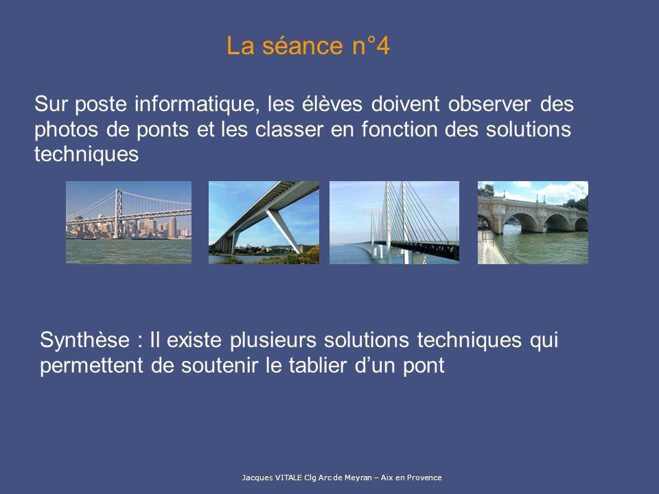 La séance n°4 Sur poste informatique, les élèves doivent observer des photos de ponts et les classer en fonction des solutions techniques.