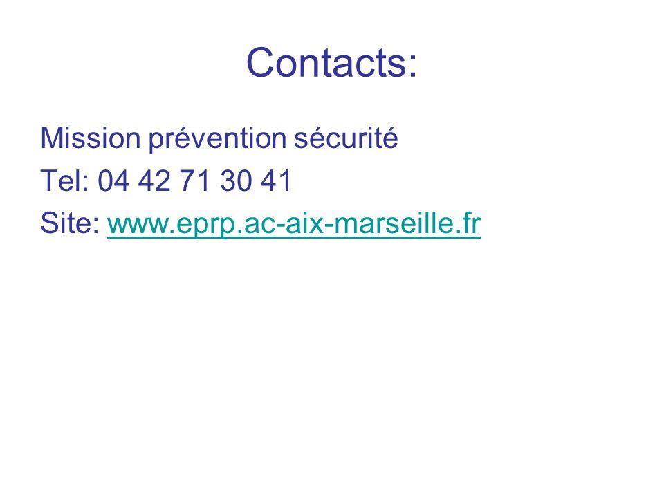 Contacts: Mission prévention sécurité Tel: 04 42 71 30 41
