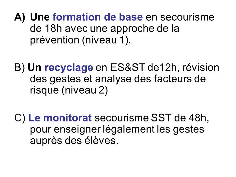 Une formation de base en secourisme de 18h avec une approche de la prévention (niveau 1).