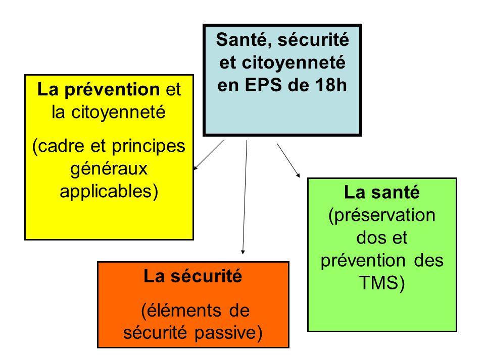 Santé, sécurité et citoyenneté en EPS de 18h