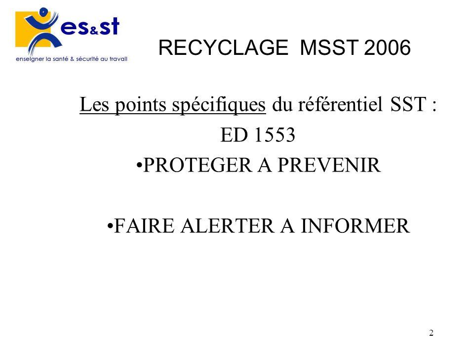 Les points spécifiques du référentiel SST : ED 1553