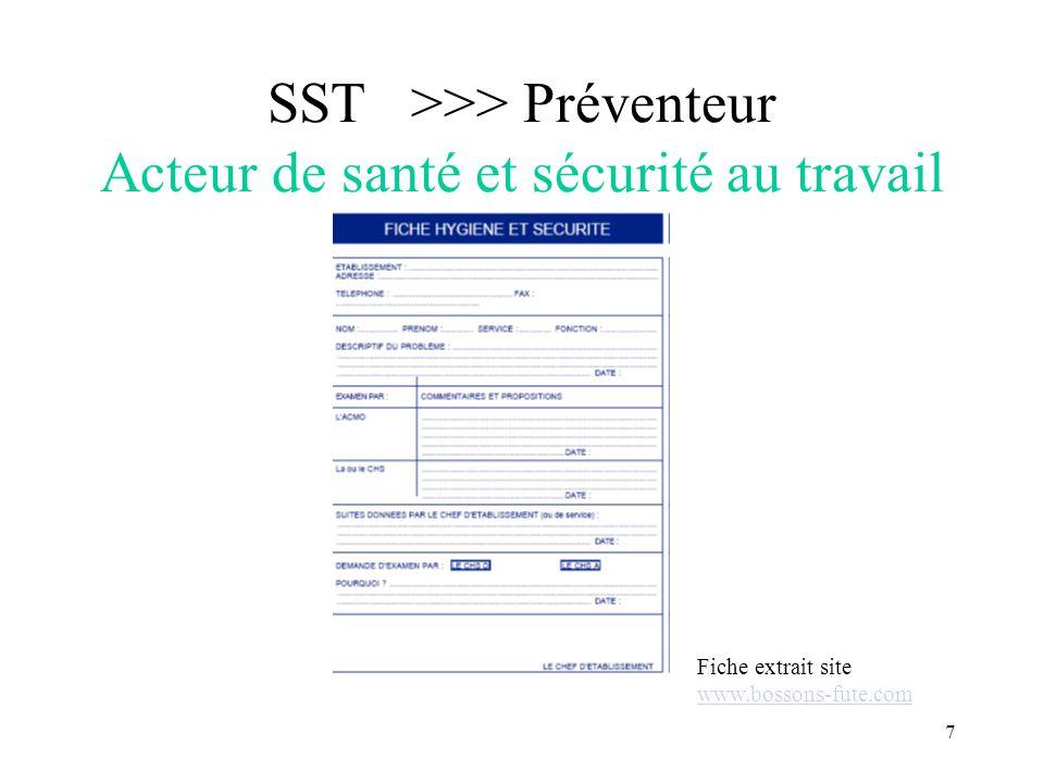 SST >>> Préventeur Acteur de santé et sécurité au travail