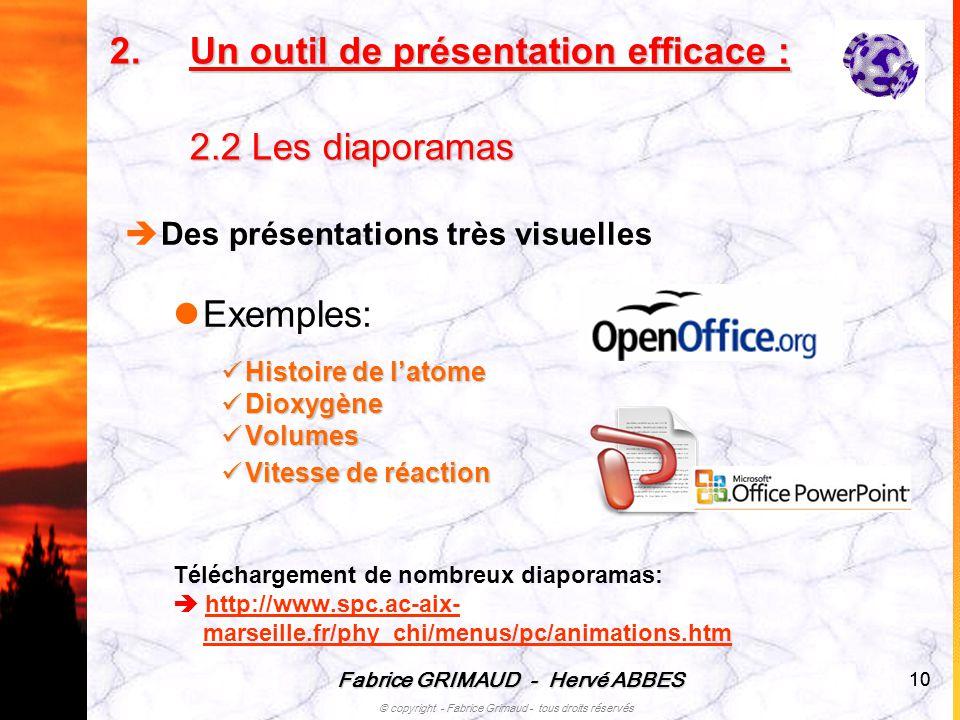 Un outil de présentation efficace : 2.2 Les diaporamas