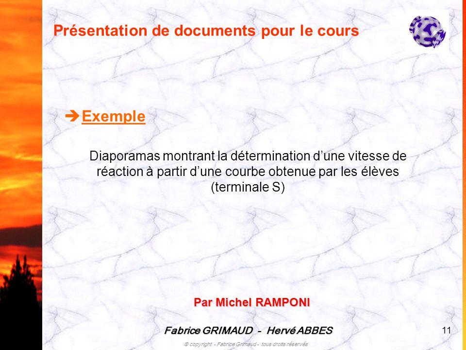 Présentation de documents pour le cours