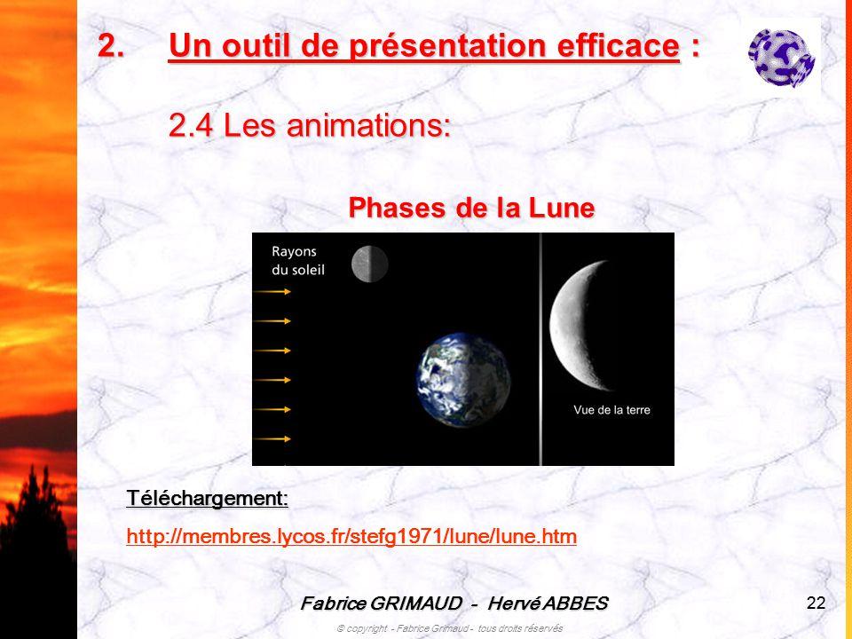 Un outil de présentation efficace : 2.4 Les animations: