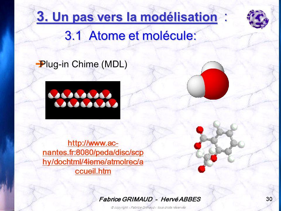 3. Un pas vers la modélisation : 3.1 Atome et molécule:
