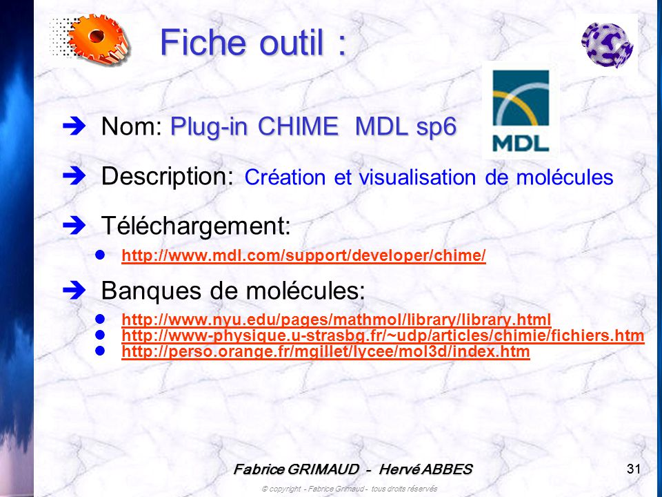 Fiche outil : Nom: Plug-in CHIME MDL sp6