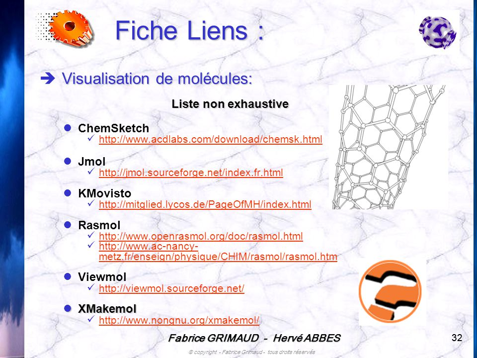Fiche Liens : Visualisation de molécules: Liste non exhaustive