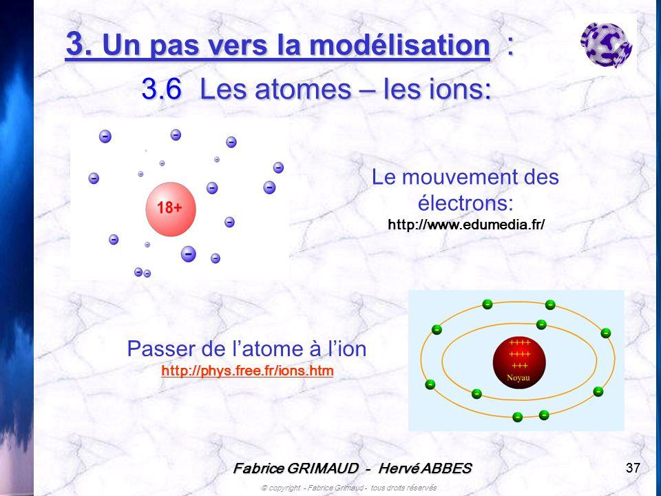 3. Un pas vers la modélisation : 3.6 Les atomes – les ions: