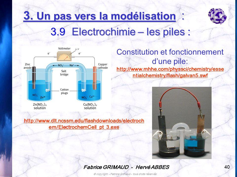 3. Un pas vers la modélisation : 3.9 Electrochimie – les piles :