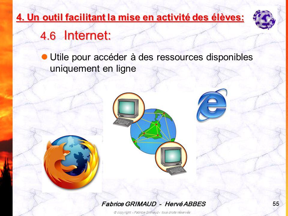 4. Un outil facilitant la mise en activité des élèves: 4.6 Internet: